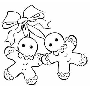 Gingerbread Men And Bow coloring page