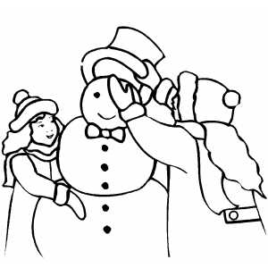 Girl Dressing Snowman With Hat coloring page