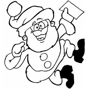 Happy Santa With Note coloring page