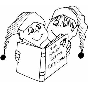 Kids Reading Christmas Book coloring page