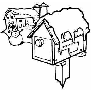 Mailbox And Snowman coloring page