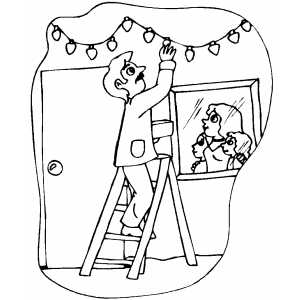 man putting up christmas lights coloring page