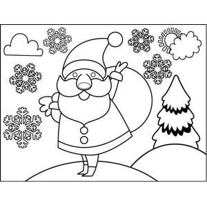 santa carrying sack coloring page