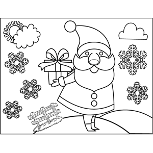Santa Holding Gift coloring page