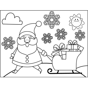 Santa Pulling Sleigh coloring page