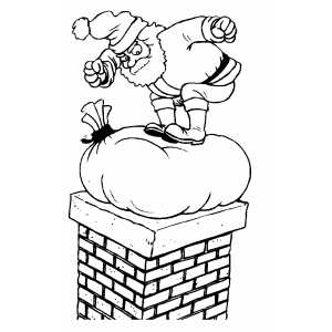 Santa Pushes Sack Into Chimney coloring page