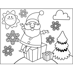 Santa Sitting on Presents coloring page