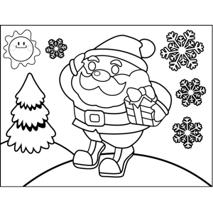 Santa on Hill coloring page
