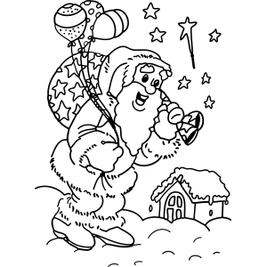 Santa with Balloons coloring page