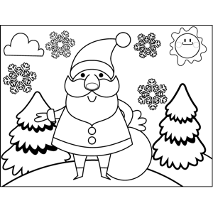 Santa with Loot coloring page