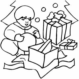 Small Boy Opening Gifts coloring page