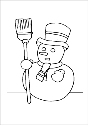 Snowman Holding Broom coloring page