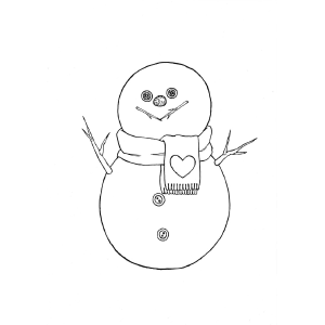 Snowman With Scarf coloring page
