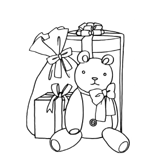 Teddy Bear and Christmas Gifts coloring page