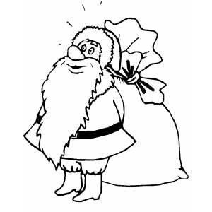 thinking santa with sack coloring page