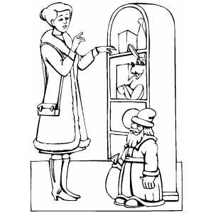 Woman And Santa Toy coloring page