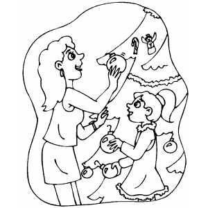 Woman Dressing Up Christmas Tree coloring page