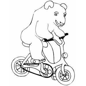 Circus Bear On Bicycle coloring page