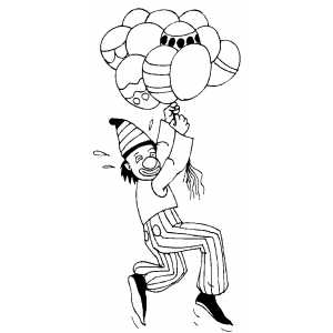 Clown Flying With Balloons coloring page
