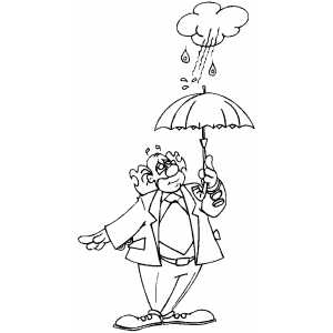 Clown In Rain coloring page