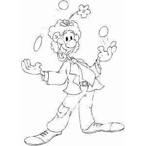 Clown Juggling With Balls coloring page