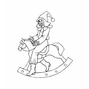 Clown On Rocking Horse coloring page