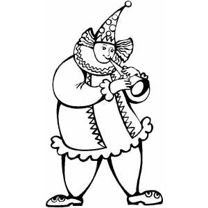 Clown Playing Horne coloring page
