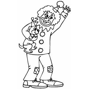 Clown With Puppy coloring page