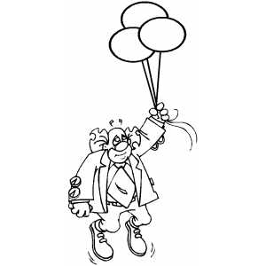 Clown With Three Baloons coloring page