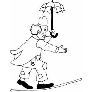 Clown With Umbrella Walking On Rope coloring page