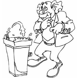 Clown With Water Fountain coloring page