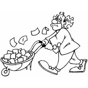 Clown With Wheelbarrow Of Money coloring page