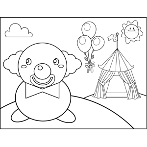 Clown and Tent coloring page