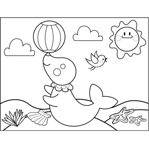 Cute Seal with Ball coloring page