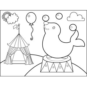 Juggling Seal coloring page