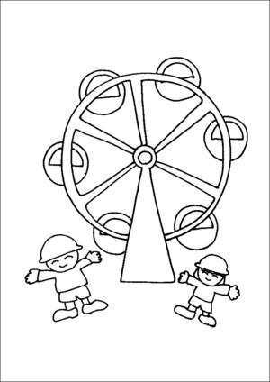 Kids At Ferris Wheel coloring page