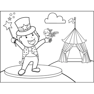 Magician with Bird coloring page