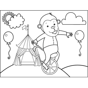Monkey on Unicycle coloring page