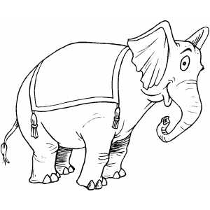 Smiling Circus Elephant coloring page