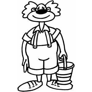 Smiling Clown With Bucket coloring page