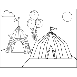 Tents and Balloons coloring page