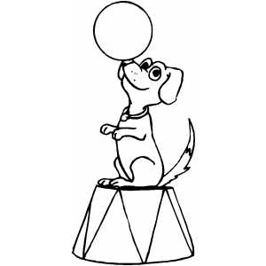 Trained Dog Balancing With Ball coloring page