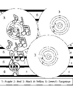 Disco Color-by-Number coloring page