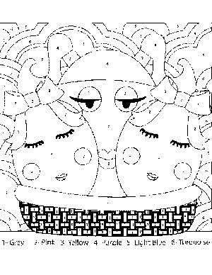 Easter Basket Color-by-Number coloring page
