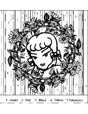 Pinup Doll Color-by-Number coloring page