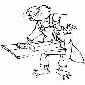 Beaver Working With Wood coloring page