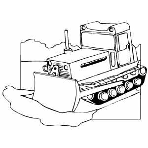 Bulldozer Moving Ground coloring page
