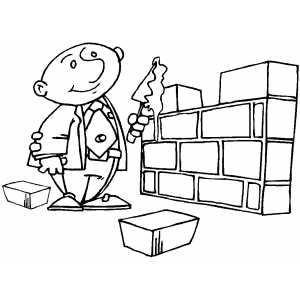 Businessman Brick Layer Coloring Page