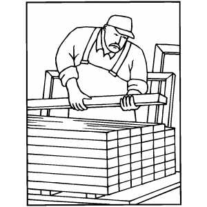 Carpenter Putting Together Boards coloring page