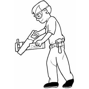 Carpenter Sawing Board coloring page